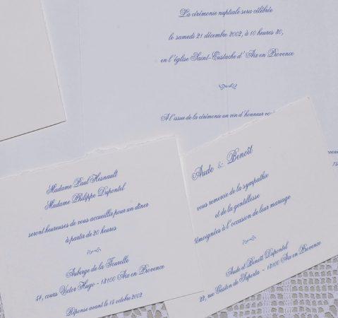 détail du faire-part mariage Azur