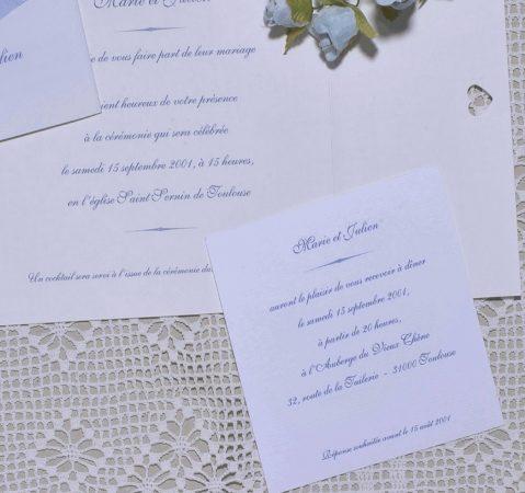 détail du faire-part mariage Nuage