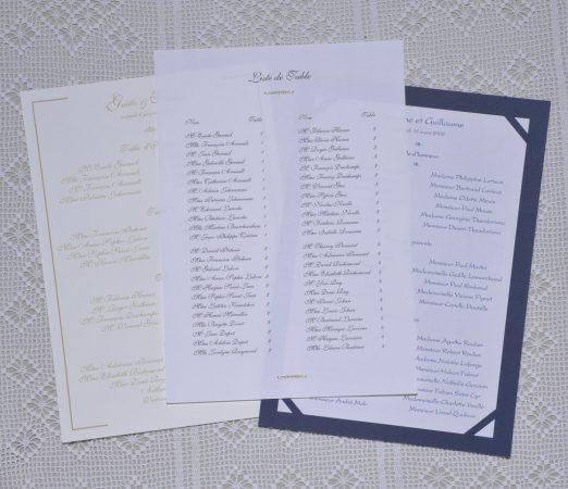 listes de table Sisteron, Gordes, Versailles