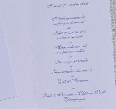 détail intérieur menu Valence