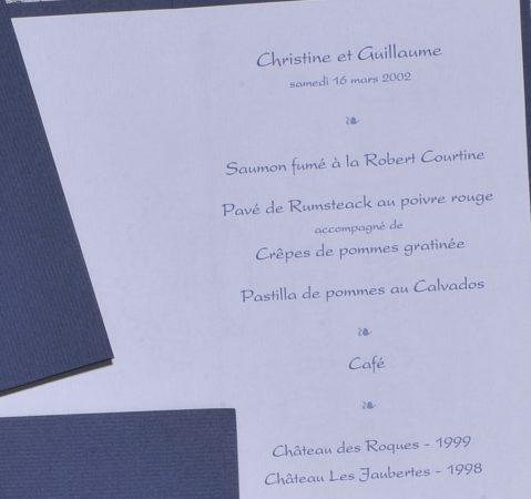 détail intérieur menu Versailles