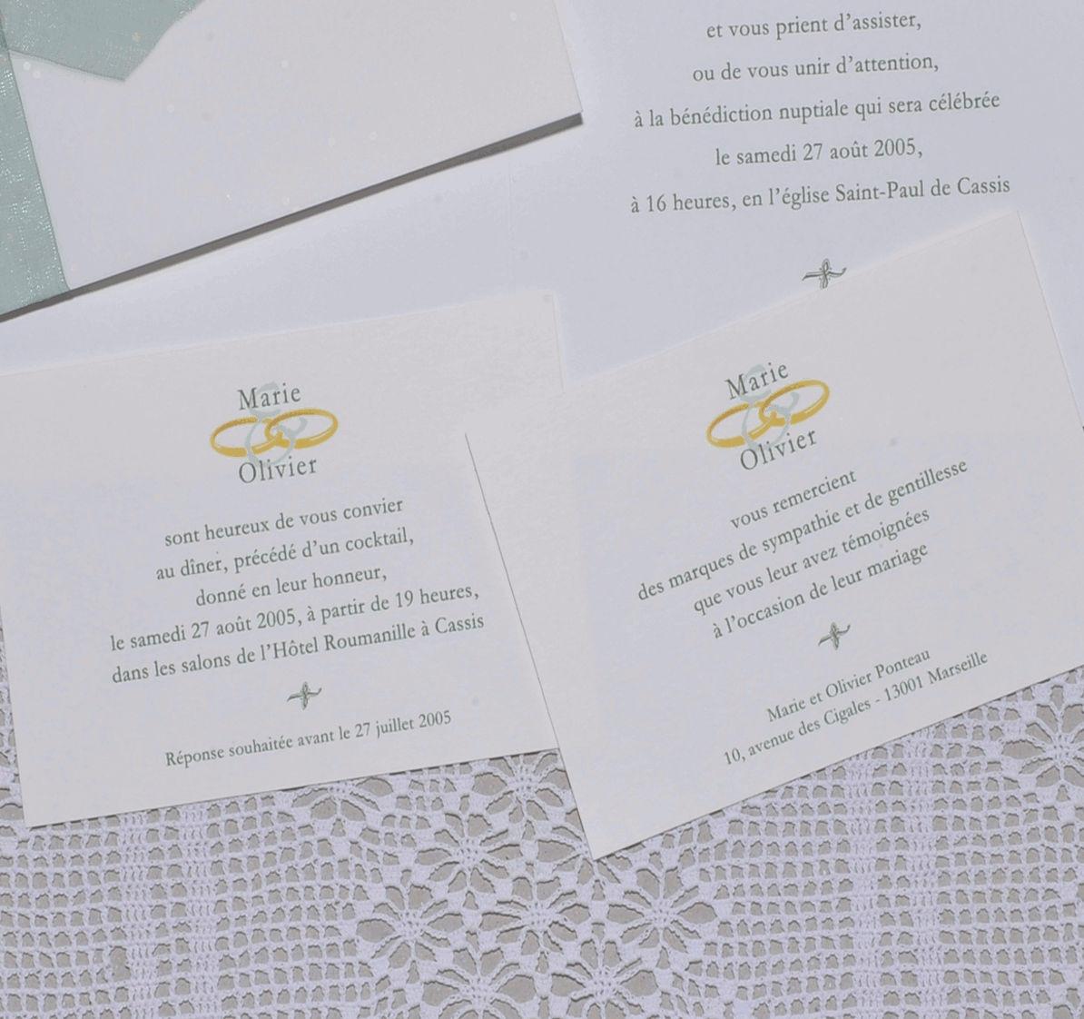 détail du carton d'invitation et de réponse du faire-part mariage Alliances