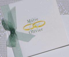 détail de couverture du faire-part mariage Alliances