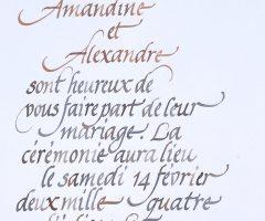 détail de calligraphie de faire-part à la plume