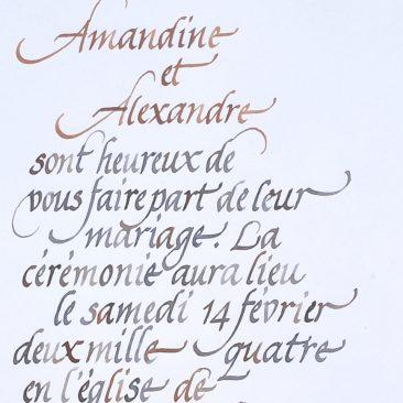 Calligraphie de faire-part à la plume