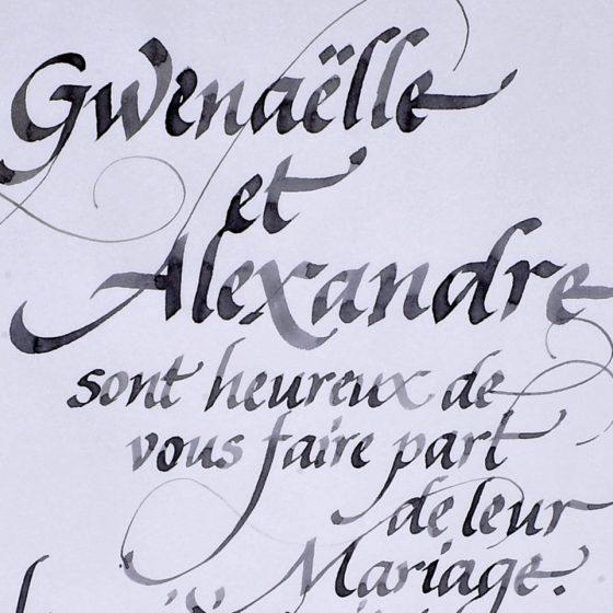 détail de calligraphie de faire-part au calame