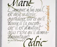 Calligraphie de citation de Vladimir Jankélévitch