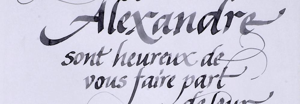 calligraphie de texte pour mariage