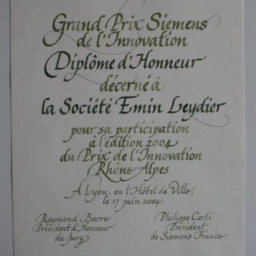 Calligraphie de diplôme d'honneur