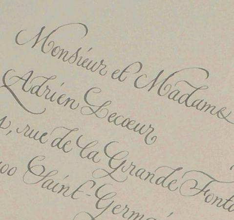 Enveloppe calligraphiée en anglaise zoom2