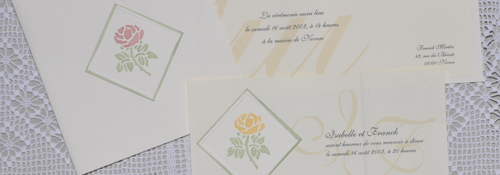 modèles de faire-part et calligraphie de mariage garance avec rose embossée