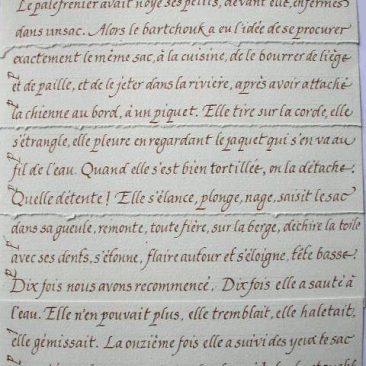 calligraphie de texte de Henri Troyat