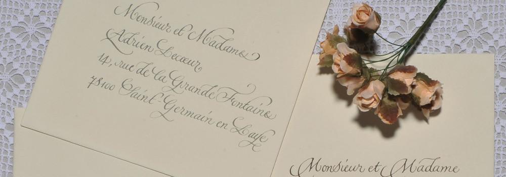 calligraphie d'enveloppes calligraphiées pour mariage et événements