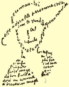 Calligraphie de poème de Guillaume Apollinaire