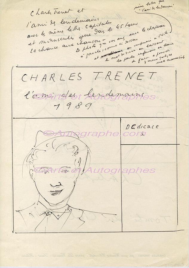 Autographe dédicace avec dessin de Charles Trénet