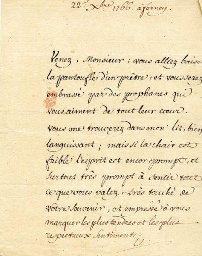 Lettres manuscrites de Voltaire mises aux enchères à Drouot