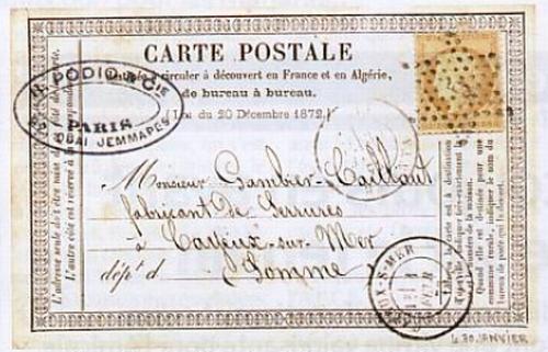 Une des premières cartes postales envoyées en France (autour de 1870)