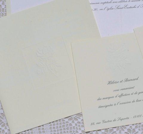 détail du faire-part mariage Albâtre