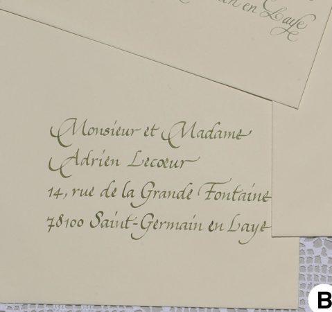 Enveloppes calligraphiées en cancelleresca