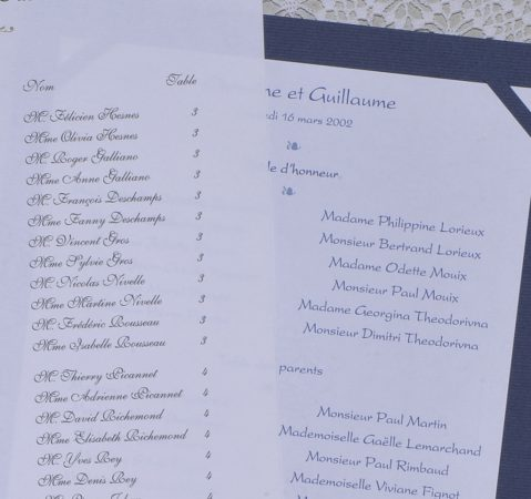 détail des listes de table Gordes et Versailles