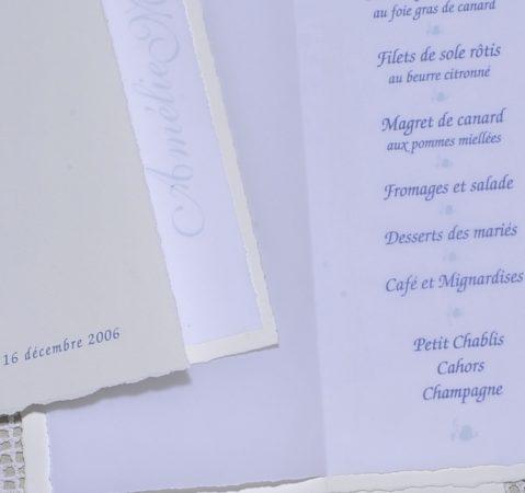 détail intérieur menu Moustiers