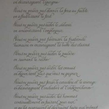 calligraphie de citation de Abraham Lincoln