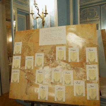 plan de table mariage avec calligraphie